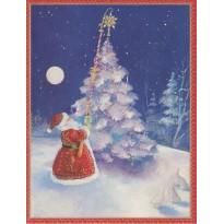 Le Père Noël accroche l'étoile au sapin, carte de Noël
