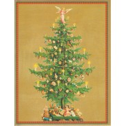 Sapin de Noël et ses nombreux décors, carte sur fond or