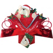 Ours en peluche en Père Noël, carte pop up