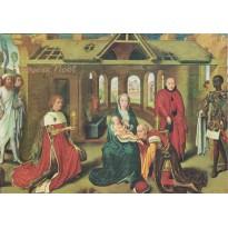 Nativité et Adoration des Mages de Hans Memling, carte de Noël