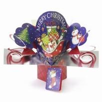Traineau du Père Noël chargé de cadeaux, carte pop up