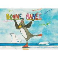 Pingouin patineur sur la banquise, carte de Bonne Année !