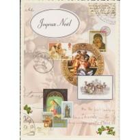 Cartes de Noël vintage à motifs variés, à bords découpés