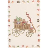 Chariot de Noël et ses jouets, carte de voeux