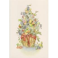 Sapin de Noël en fruits et feuillages givrés, carte de Noël