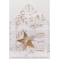 Etoile et portée musicale or sur transparent, carte de voeux