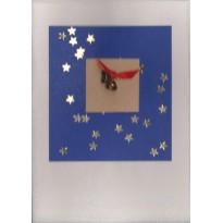 Clochettes miniatures sur ciel étoilé, carte de Noël