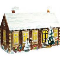 Maison avec enfants dans la neige, carte de Noël 3D