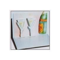 Carte Félicitations 3D avec flûtes à champagne