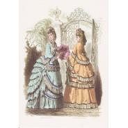 Lot de 8 cartes anciennes gravures de mode