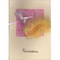 Félicitations, carte  double artisanale faite main