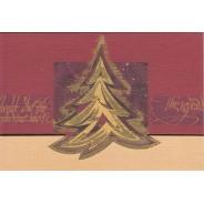 Carte de Noël porte-billets Sapin doré