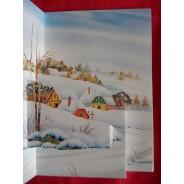 Villages en hiver, cartes Bonne Année en 3 D