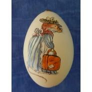 La Petite voyageuse, oeuf d'oie avec sujet peint à la main