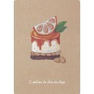 Cheesecake orange, bijou-pâtisserie en carte postale