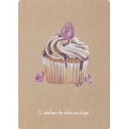Cupcake framboise au saphir rose, bijou-gourmandise en carte postale