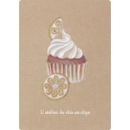 Cupcake Citron-Citrine, carte postale pâtisserie-bijou