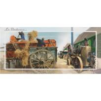 Les Battages, carte postale d'une tradition et fête populaire du monde rural.