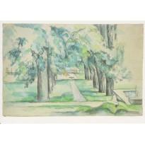 """""""Allée des Marronniers au Jas de Bouffan""""  tableau de Paul Cézanne reproduit sur carte postale."""